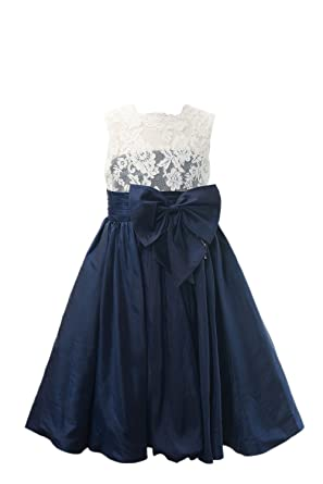 ee7d523d3b3 Miama Ivory Lace Navy Blue Taffeta Wedding Flower Girl Dress Junior  Bridesmaid Dress