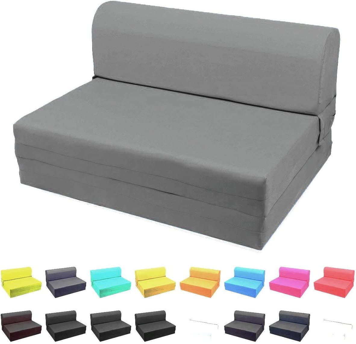 Magshion Futon Furniture Sleeper Chair Folding Foam Bed Choose Color & Sized Single,Twin or Full (Single (5x23x70), Dark Grey)
