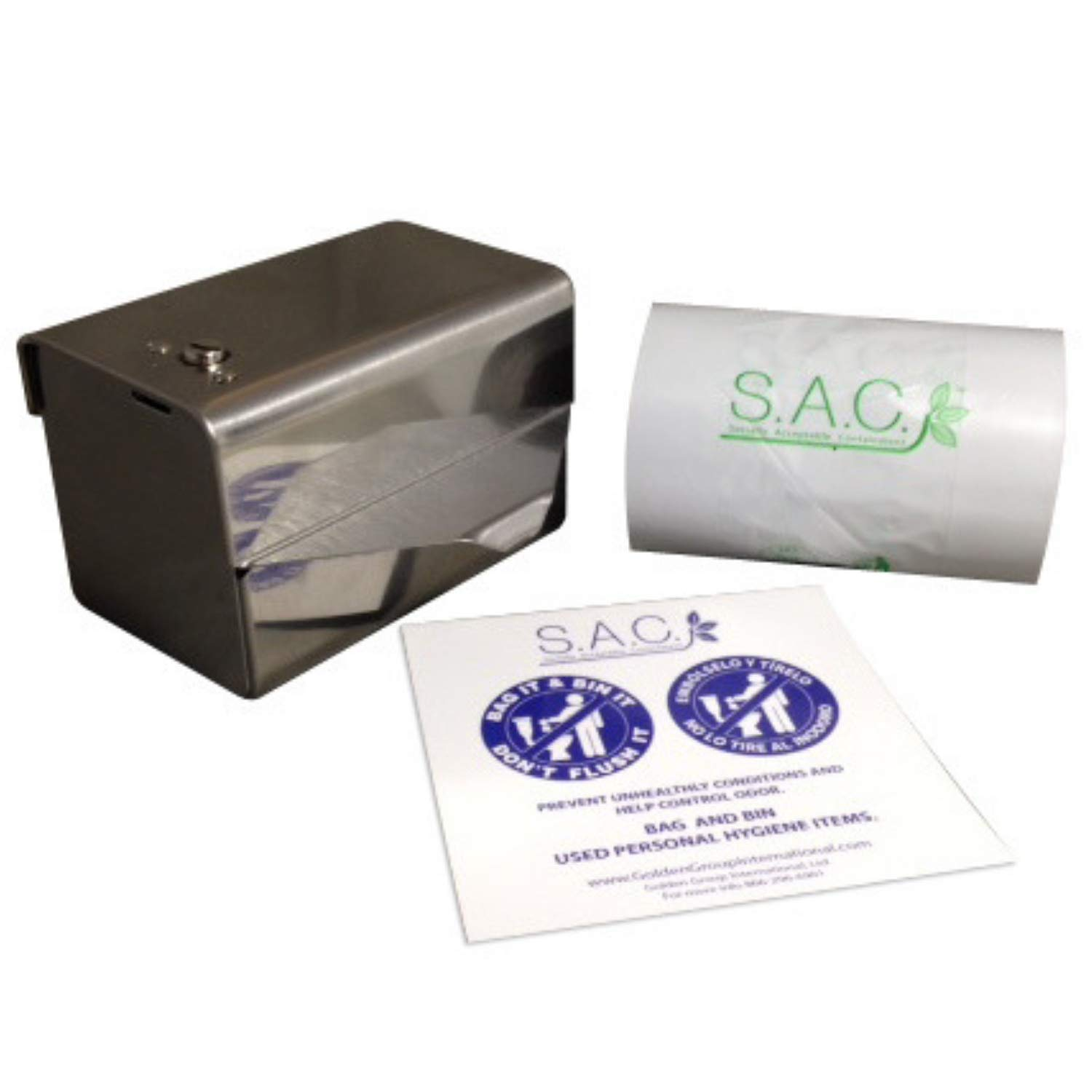 Sanitary Napkin Disposal - Bag Dispenser,1 roll of bags, and a Do Not Flush Sign, included FREE by S.A.C. Socially Acceptable Containment
