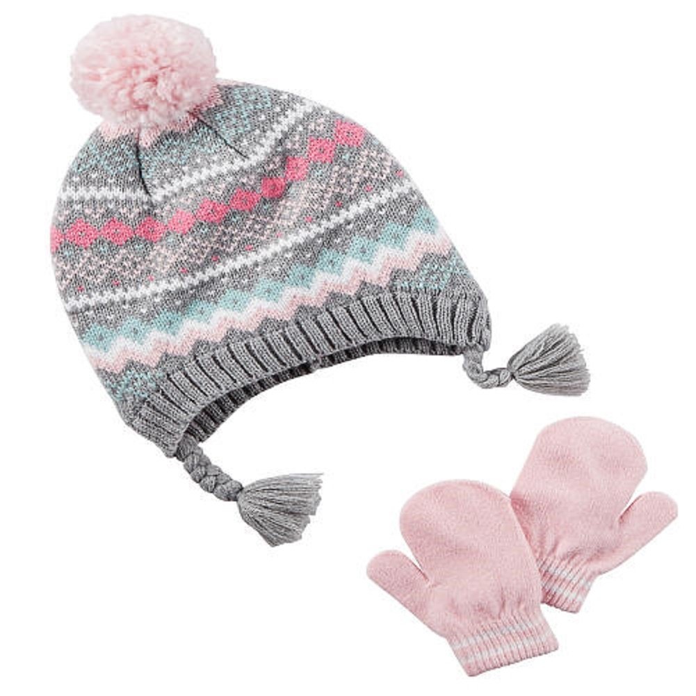 Amazon.com  Carter s Girls Fair Isle Pom Pom Winter Hat and Mitten Glove  Set (Pink Grey 97fcc695624