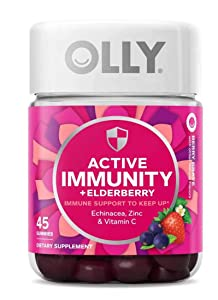 Olly Active Immunity + Elderberry Gummy Vitamins! 40 Gummies Berry Flavor! Blend of Echinacea, Vitamin C & Zinc! Keep Your Immune System Running Strong! Choose from 1 Pack, 2 Pack Or 3 Pack! (1 Pack)