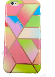 Geometric Marble iPhone 6S/iPhone 6 Case, Slim Thin Glossy Soft Flexible TPU Silicone Rubber Gel Shiny Gold Streaks Fashion Phone Case Bumper Cover for Apple iPhone 6s/iPhone 6 (Rainbow/Glitter)