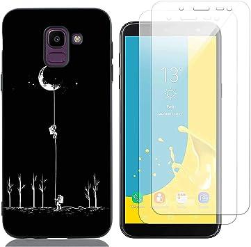 Funda Samsung Galaxy J6 2018,Escalar la luna Flexible Suave Negro silicona Smartphone Cascara Protectora Para Samsung Galaxy J6 2018 SM-J600F (5,6