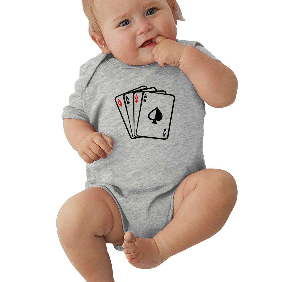 Aces Poker Playing Cards Newborn Baby Girl Boy Bodysuit Jumpsuit Short Sleeved Bodysuit Tops Clothes