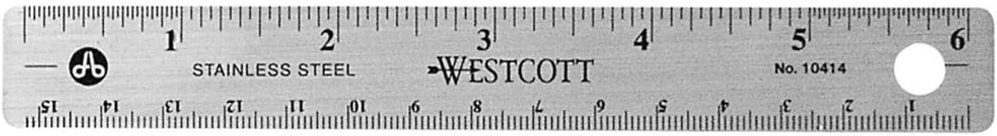 Westcott Stainless Steel Office Ruler with Non Slip Cork Base, 6-Inch (10414)