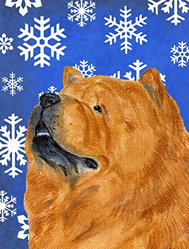 Caroline's Treasures SS4640GF Chow Chow Winter Snowflakes Holiday Flag, Small, Multicolor (Chow Garden Flag)