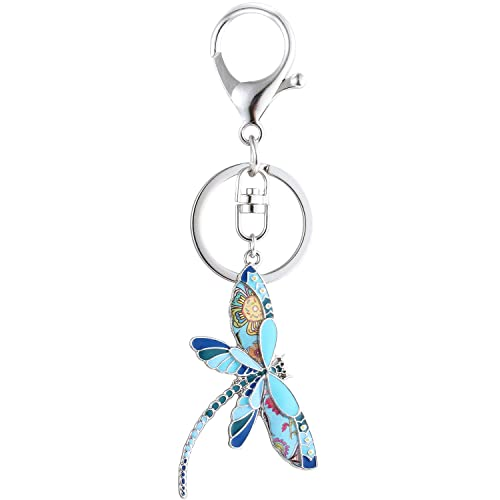 Luckeyui Cute Dragonfly Keychain for Women Unique Enamel Insect Keyring