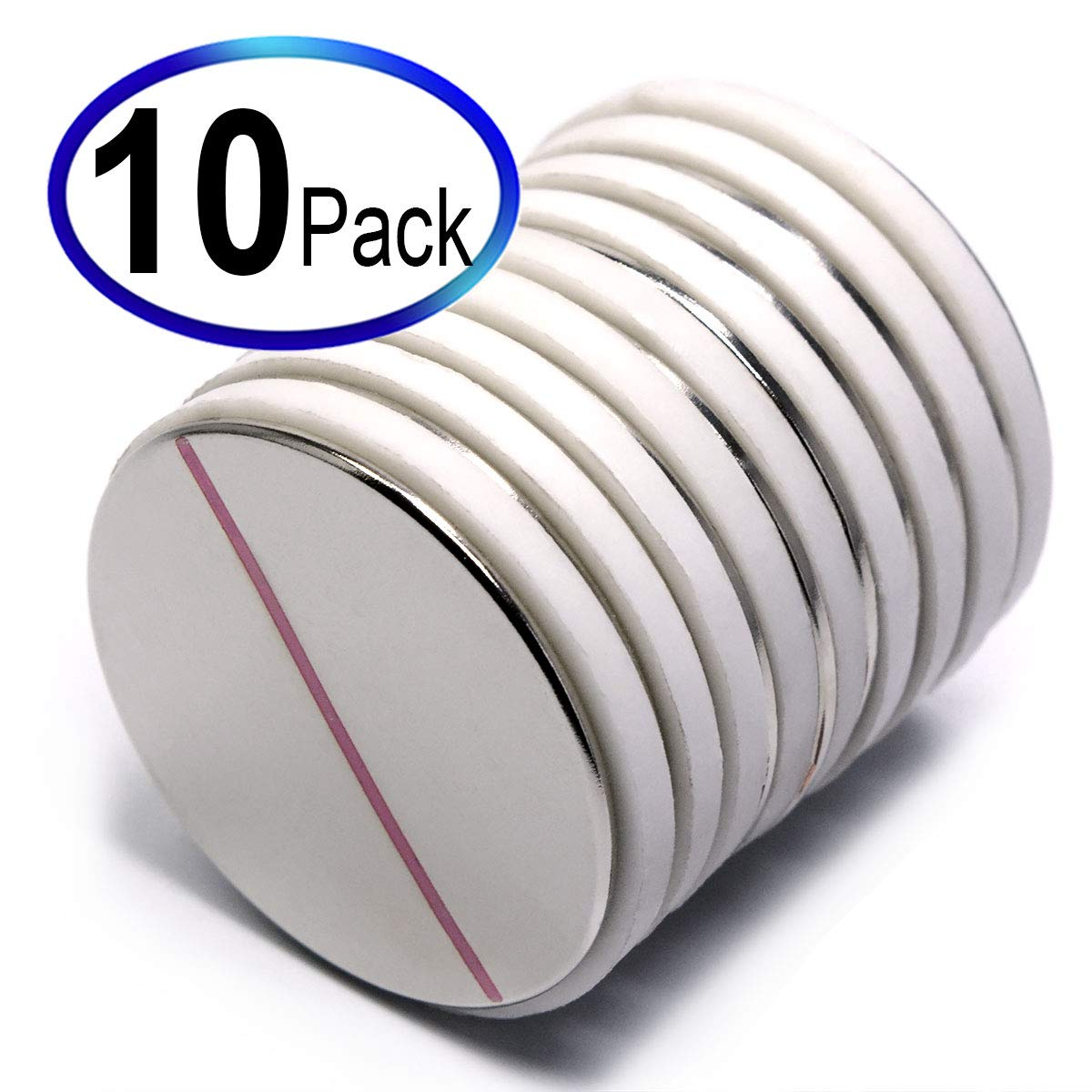 CMS Magnetics N45 1.5'' x 1/16'' Disc Neodymium Magnets , A Pack of 10 Strong Magnets