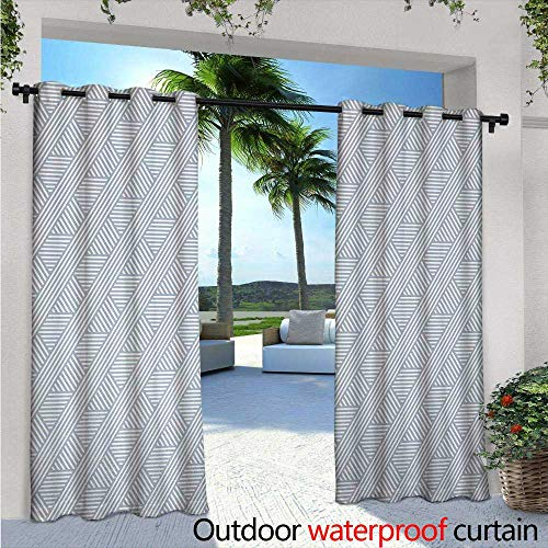Stripes Exterior/Outside Curtains W96 x L84 Monochrome Diagonal Lines Geometric Composition Modern Minimalist Design for Patio Light Block Heat Out Water Proof Drape Bluegrey and Coconut