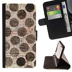 For HTC One Mini 2 M8 MINI Case , Modelo de punto Mano Arte Dibujado- la tarjeta de Crédito Slots PU Funda de cuero Monedero caso cubierta de piel