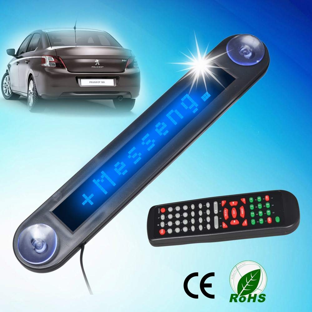 LED Color: Blue LETOUCH 12V Car LED Programmable Message Sign Scrolling Display Board with Remote Controller
