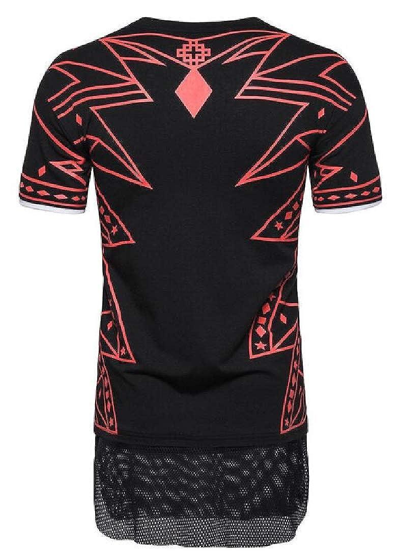 Domple Mens Geometric Print Round Neck Short-Sleeve Mesh T-Shirt Tee Top