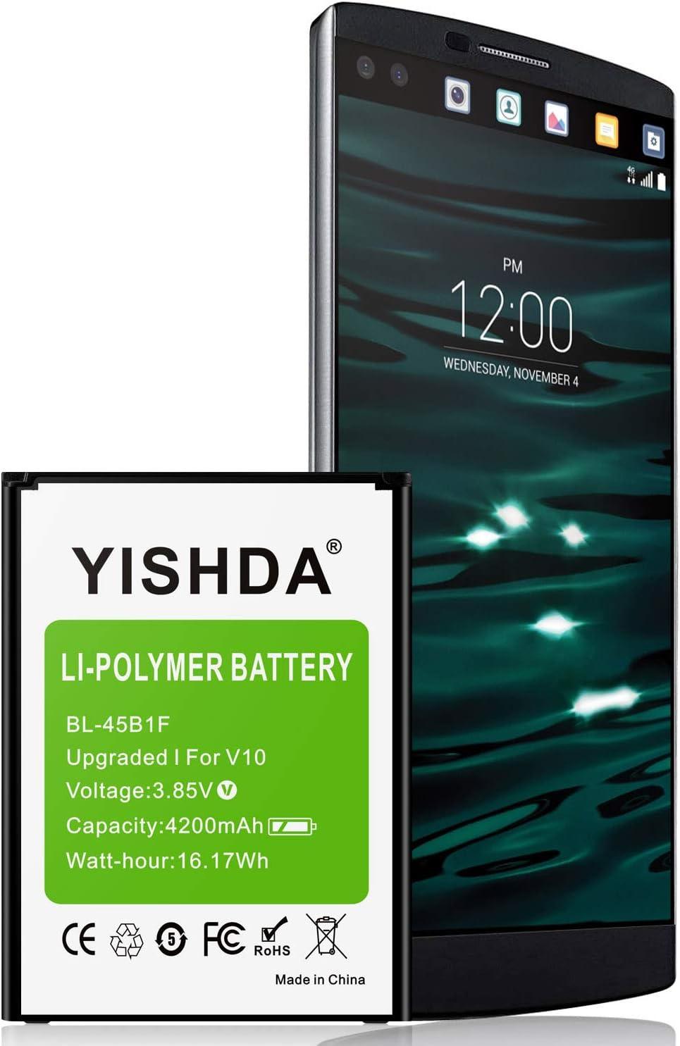 YISHDA - Batería de repuesto para LG V10 (4200 mAh, polímero de ...