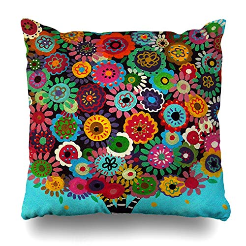 Ahawoso Throw Pillow Covers Table Beautiful Patterns and Strips Mexican Style Tree Flower Floral Pillowslip Square Size 18 x 18 Inches Cushion Cases Pillowcases