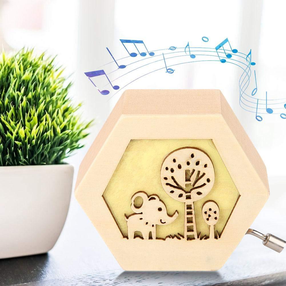 AUNMAS Cl/ásico Tallado de Madera Caja de m/úsica Forma Hexagonal con patr/ón Animal manivela Caja Musical Cumplea/ños de Navidad Regalo del d/ía de San Valent/ín 1#