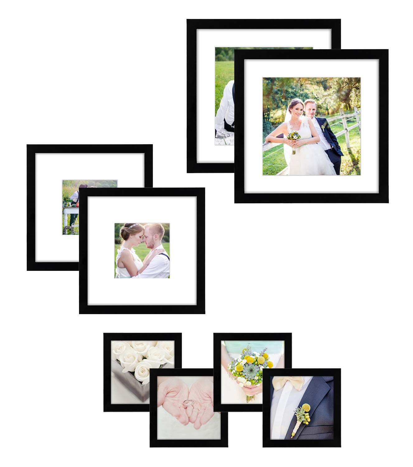 Americanflat 8 Pack Gallery Wall Set - Includes: (2) 11x11 Frames, (2) 8x8 Frames, and (4) 4x4 Frames, Black by Americanflat