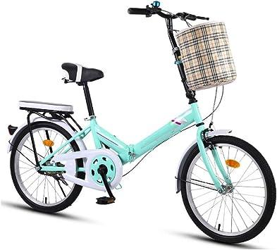 YANGSANJIN Bicicleta Plegable Luz portátil para Mujer Bicicleta para Adultos Bicicleta de una Sola Velocidad 16 Ruedas, Mini Bicicleta de Rueda pequeña para Mujeres, Hombres (Color: Azul): Amazon.es: Deportes y aire libre