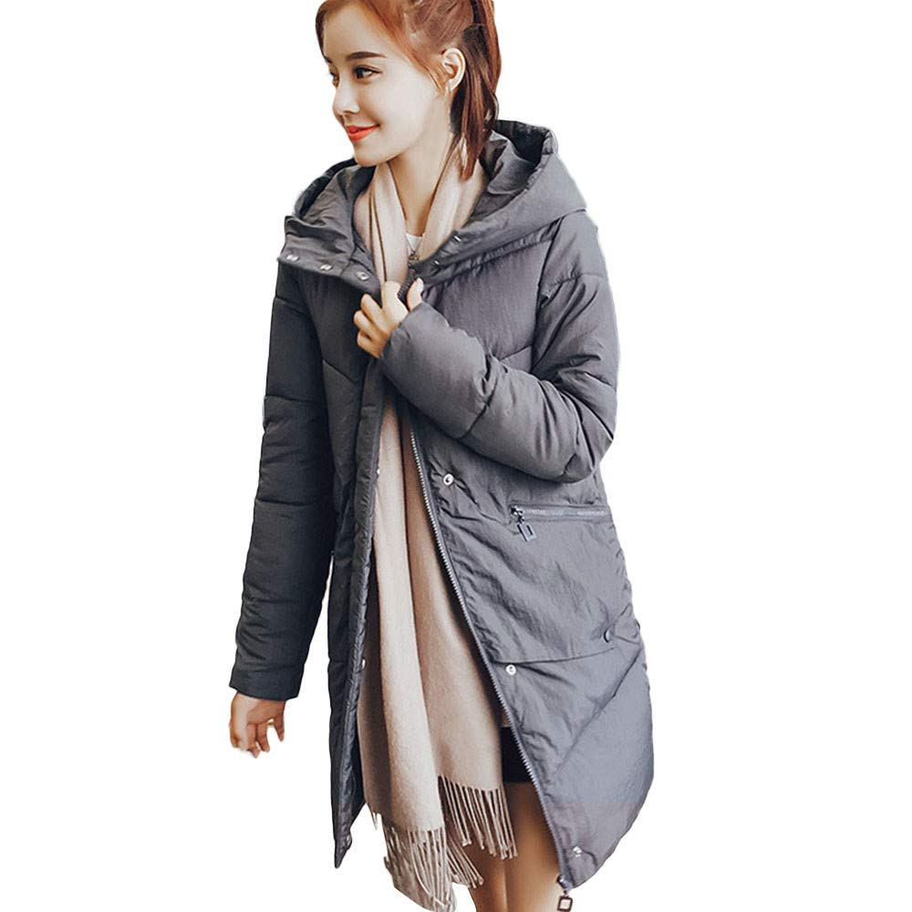Ximandi Women Outerwear Fur Hooded Button Coat Long Cotton-Padded Jackets Pocket Coats Gray by Ximandi (Image #1)