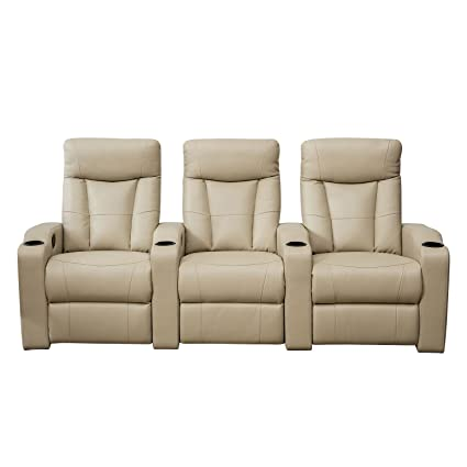 BONZY Home Theater Recliner Three Seat Recliner Chair (Straight Row Of 3,  Buff)