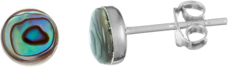81stgeneration 6 mm Abulón Paua Pendientes de Botón de Mujer en Plata de Ley .925. 6 mm