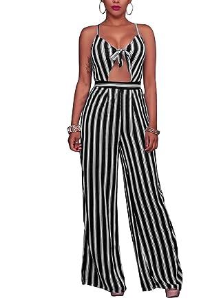 b71b52ca13f SheKiss Women s Sexy Spaghetti Strap Striped High Waist Wide Leg Long Pants  Palazzo Jumpsuit Rompers Ladies