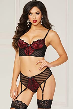 4970bf8fd9646 7 til Midnight Starstruck Deep Red & Black Lingerie Set (Black ...