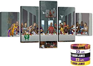 """Last Supper - 5 Piece Large Canvas Wall Art Funny Da Vinci's Final Meal Picture Basketball Super Star Art Work for Home Wall Decor, Men Boys House, Room, Office Decorations (60"""" Wx32 H)"""