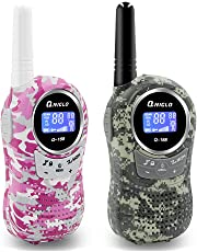 QNIGLO Kids Walkie Talkies,22 Channels Two Way Radio 3 Miles Long Range Walkie Talkies for Kids,Birthday Gifts Toys for Boys Girls(Camo,1 Pair)