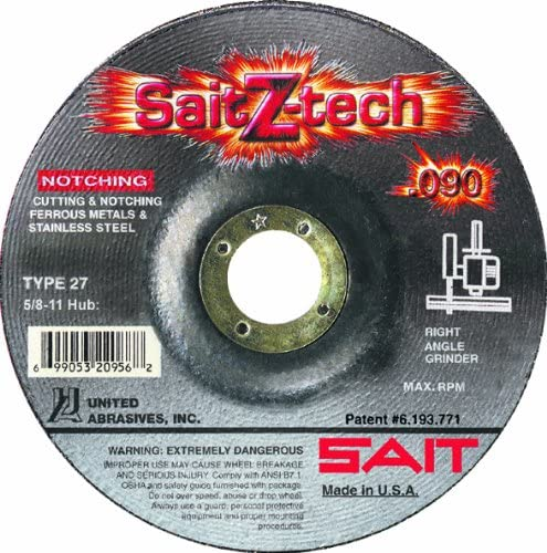 25-Pack United Abrasives-SAIT 20946 Type 27 7-Inch by .090-Inch by 7//8-Inch Depressed Center Cutting Wheel