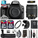 Holiday Saving Bundle for D3300 DSLR Camera + AF-P 18-55mm + Battery Grip + 2yr Extended Warranty + 32GB Class 10 Memory Card + Backup Battery + 16GB Class 10 + Wrist Strap - International Version