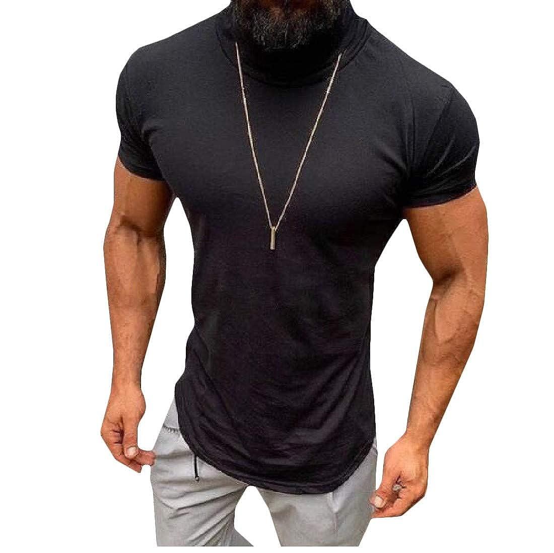 Hajotrawa Men Slim Fit High Neck Short Sleeve Pullover Summer T-Shirt Top