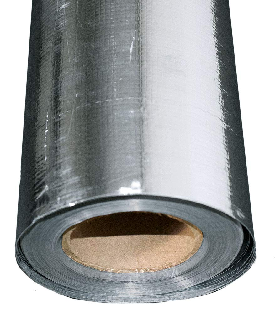 US Energy Products 500 sqft Aluminum Foil Barrier Insulation Sauna Non Perforated Solid 8 Mil Reinforced Aluminum Vapor Barrier