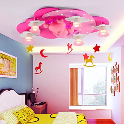 Ceiling Lights Pink Color Kids Room Ceiling Lights Cartoon Warm Bedroom Ceiling Lamp Led Creative Child Living Room Indoor Lighting Decor Lamps