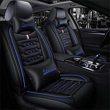 Luxury Leather Auto Autositzbezüge 5 Sitze Full Set Universal Fit Luxurious Blau Blau Auto