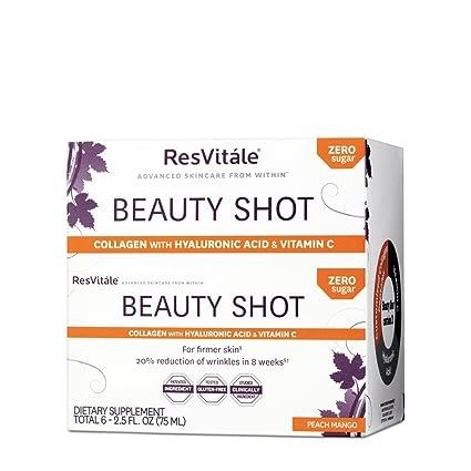 ResVitale - Belleza colágeno Shot con ácido hialurónico y vitamina C melocotón mango - 2.5 la