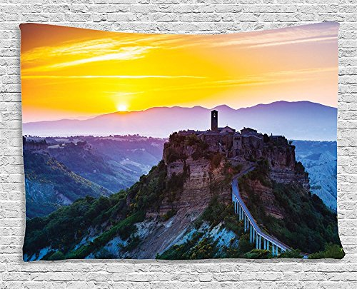 Supersoft Fleece Throw Blanket Tuscan Collection Old Historic Castle and Town on (Led Zeppelin Print Tank Top)