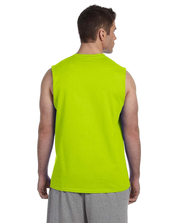 Gildan Mens 6.1 oz Ultra Cotton Sleeveless T-Shirt G270 -SAFETY GRE -M-12PK