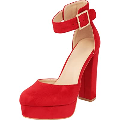 Cambridge Select Women's Closed Round Toe Buckle Thick Ankle Strap Chunky Platform Wrapped High Heel Pump (7.5 B(M) US, Red IMSU) | Pumps