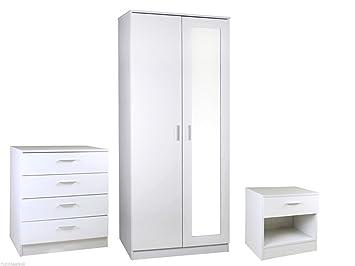 High Gloss 3 Piece Bedroom Furniture Set with 2 Door Mirrored ...