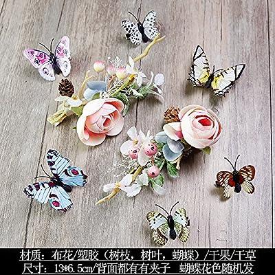 XPY&DGX Accessoires De Cheveux De Mariée En Épingle À Cheveux De Mariage,Fleur nuptiale super fée à la main plume cheveux mariage tiara robe de mariée accessoires