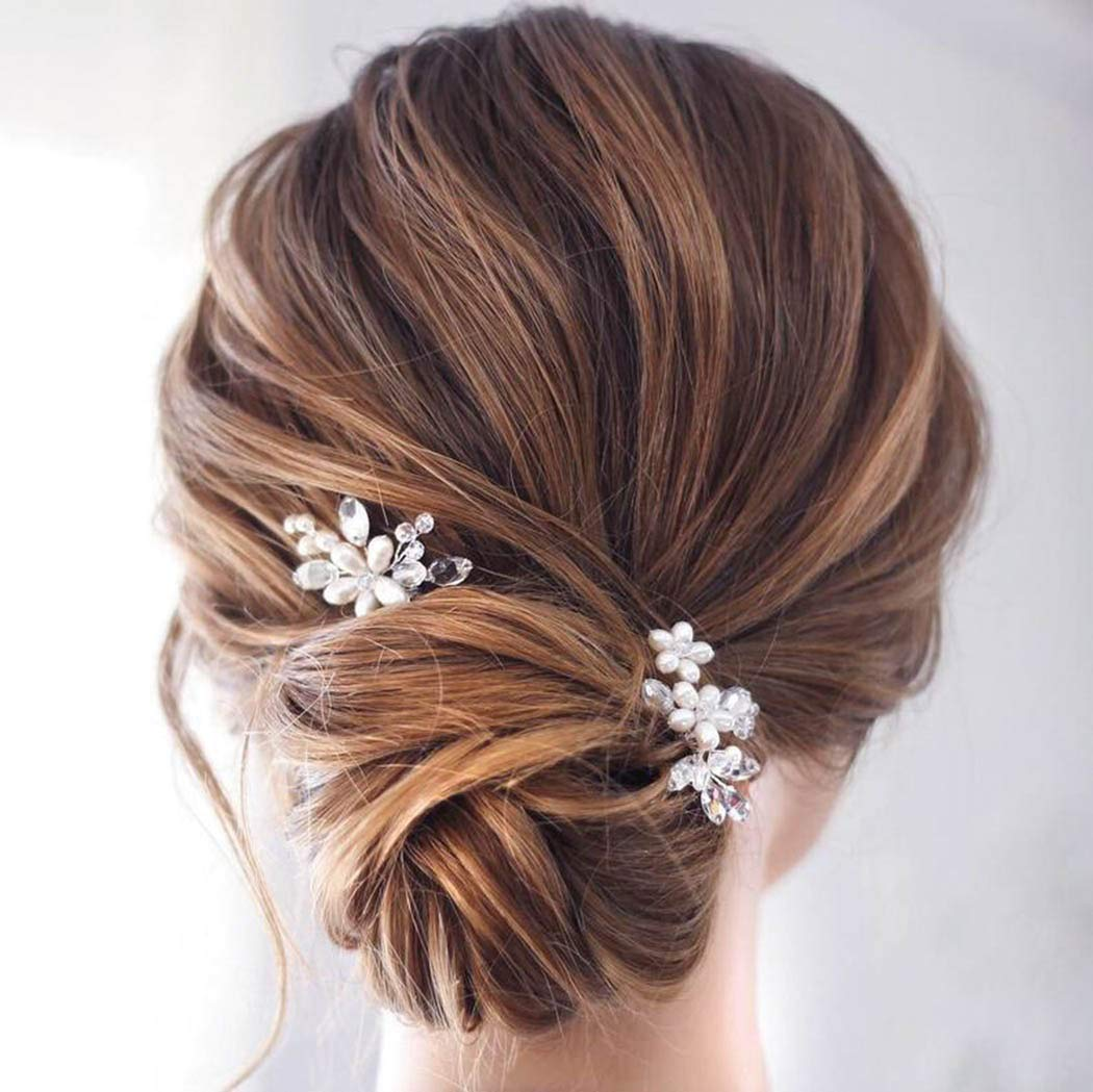 Catery Flower Bride Wedding Hair Pins Crystal Pearl Hair Set Jewelry Headpieces Bridal Decorative Hair Accessories for Women Pack of 2 (Rose Gold)