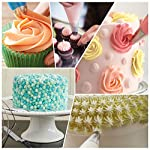 Kootek 58 Pieces Cake Decorating Supplies Kits with 29 Numbered Icing Tips, 22 Pastry Bags, 1 Icing Spatula, 3 Reusable Couplers, 2 Flower Nails Frosting Kids Baking Tool DIY Cupcakes Cookies 14 Cake Decorating Supplies Set: 24 cake decorating icing tips, 5 cupcakes piping tips, 1 angled icing spatula, 20 disposable pastry bags, 2 silicone pastry bags, 3 piping tip couplers, 2 flower nails, 1 cleaning brush. Large Size Tips: Includes 5 cupcake tips which helps you create perfer pattern on cupcake. Cake Decorating Patterns: Closed Star, Open Star, French, Round, Plain, Leaf, Petal.