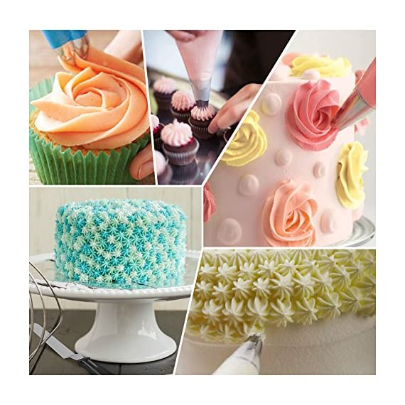 Kootek 58 Pieces Cake Decorating Supplies Kits with 29 Numbered Icing Tips, 22 Pastry Bags, 1 Icing Spatula, 3 Reusable Couplers, 2 Flower Nails Frosting Kids Baking Tool DIY Cupcakes Cookies 7 Cake Decorating Supplies Set: 24 cake decorating icing tips, 5 cupcakes piping tips, 1 angled icing spatula, 20 disposable pastry bags, 2 silicone pastry bags, 3 piping tip couplers, 2 flower nails, 1 cleaning brush. Large Size Tips: Includes 5 cupcake tips which helps you create perfer pattern on cupcake. Cake Decorating Patterns: Closed Star, Open Star, French, Round, Plain, Leaf, Petal.