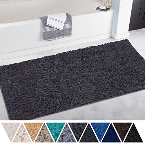 DEARTOWN Non-Slip Thick Microfiber Bathroom Rugs, Machine-Washable Bath Mats Water Absorbent (27.5x47 Inches, Grey)