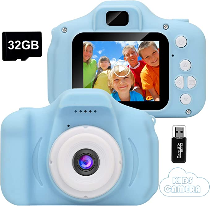 Imagen deGlobalCrown Cámara para niños,Mini Digital Recargable Cámara Video Prueba de Golpes Regalos para niños de 3 a 8 años, 8MP HD Pantalla de 2 Pulgadas para Jugar al Aire Libre (32GB Tarjeta incluida)