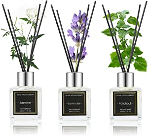 NEVAEHEART Reed Diffuser Set, Jasmine/Lavender/Patchouli, 1.7OZ x 3 Packs Reed Diffuser, Oil Diffuser Sticks, Home Fragrance Products, Fragrance Diffuser with Gift Box