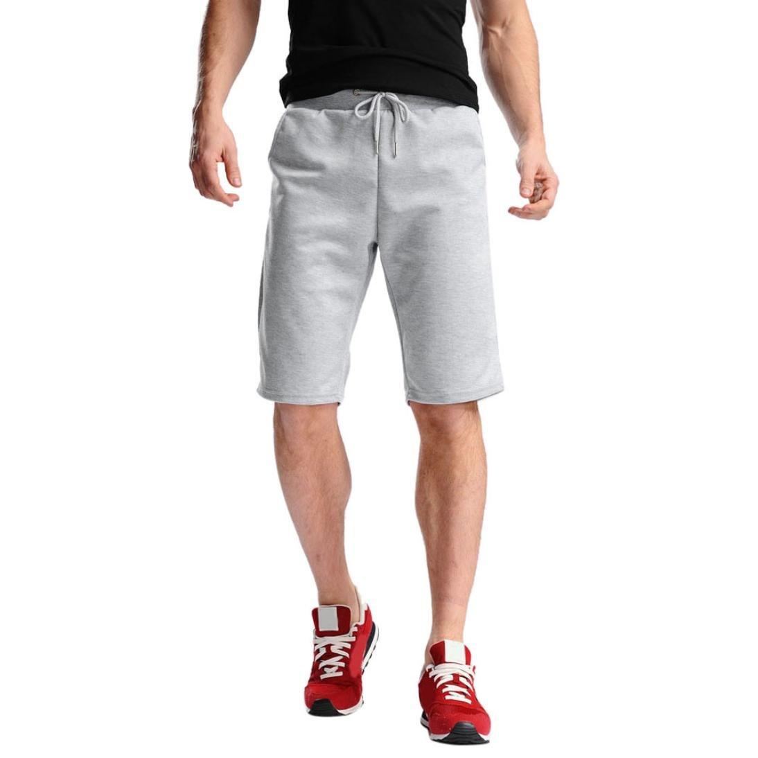 PRINCER Breathable Sweat Shorts Mens Summer Beach Sport Jogging Plain Lightweight Short Pants Casual Shorts Pants Knickers Breechcloth Plus Size 4XL