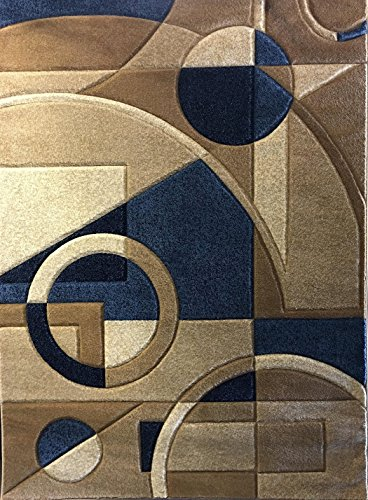 Modern Area Rug 400,000 Point Contempo Design #322 Blue (5 feet 2 inches X 7 feet 3 inches) (Contempo Rug Made Machine)