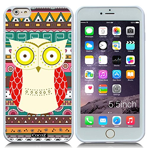 New Apple iPhone 6 s Plus 5.5-inch CocoZ® Case Cute funny owl TUP Material Case (White&White TPU owl (Ninja Turtles Who Is Who)