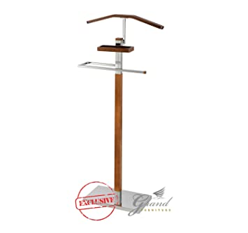 New Brooke Contemporary Clothes Valet Stand Butler Home Office Coat Hanger  Rack Rail